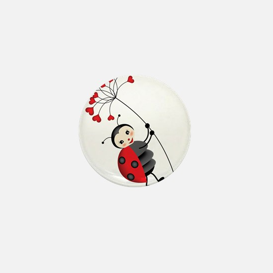 ladybug with heart tree Mini Button