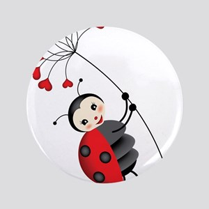 """ladybug with heart tree 3.5"""" Button"""