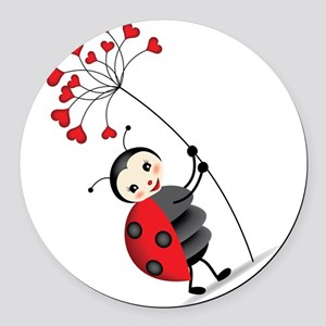 ladybug with heart tree Round Car Magnet