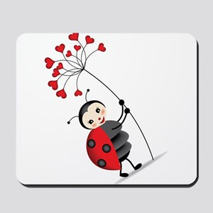 ladybug with heart tree Mousepad