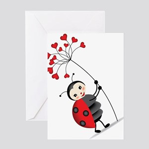 ladybug with heart tree Greeting Cards