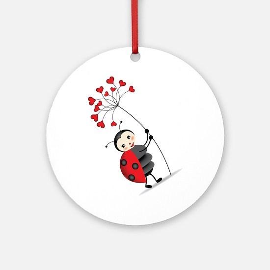 ladybug with heart tree Ornament (Round)