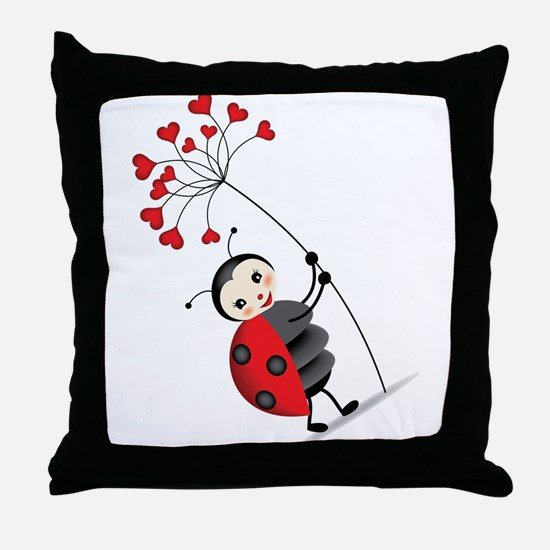ladybug with heart tree Throw Pillow