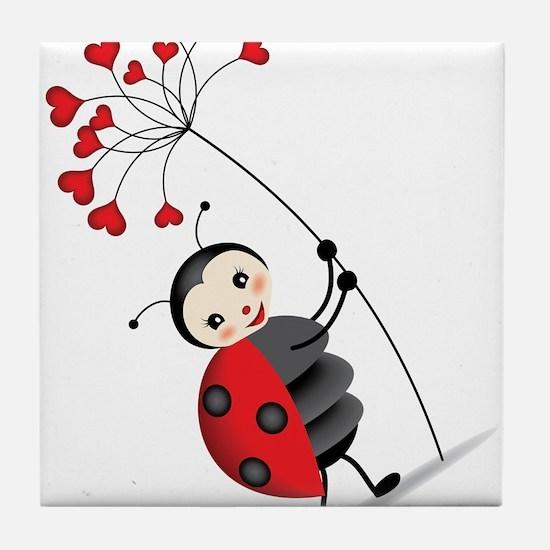 ladybug with heart tree Tile Coaster