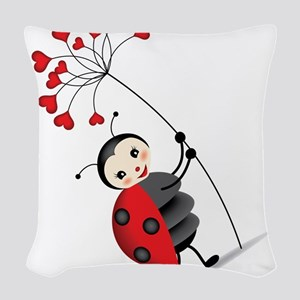 ladybug with heart tree Woven Throw Pillow