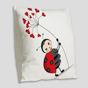 ladybug with heart tree Burlap Throw Pillow