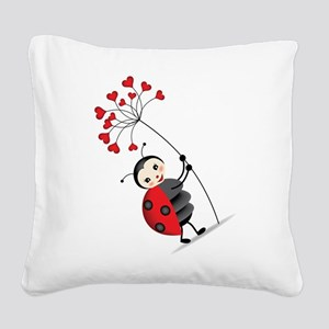 ladybug with heart tree Square Canvas Pillow