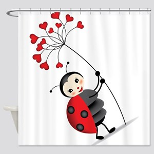 ladybug with heart tree Shower Curtain