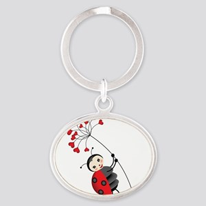 ladybug with heart tree Keychains