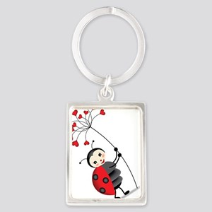 ladybug with heart tree Keychains