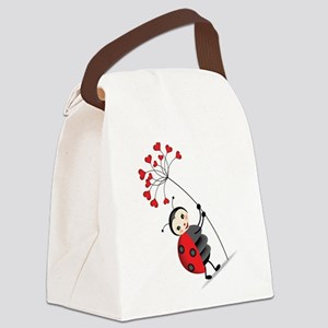 ladybug with heart tree Canvas Lunch Bag