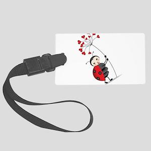 ladybug with heart tree Luggage Tag