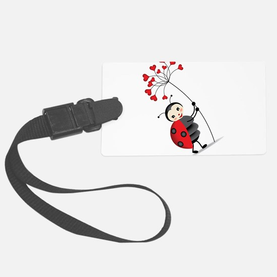 ladybug with heart tree Luggage Tag