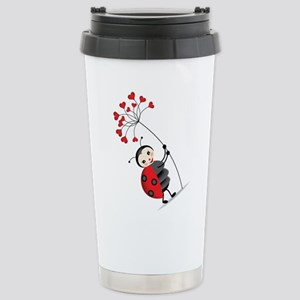ladybug with heart tree Travel Mug