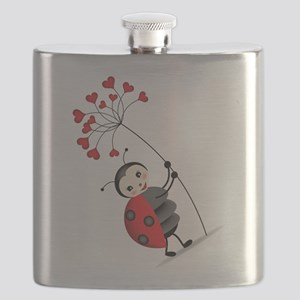 ladybug with heart tree Flask
