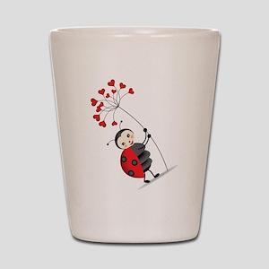ladybug with heart tree Shot Glass