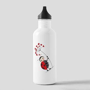 ladybug with heart tree Water Bottle