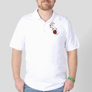 ladybug with heart tree Golf Shirt