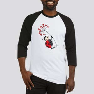 ladybug with heart tree Baseball Jersey