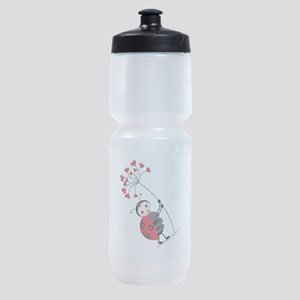 ladybug with heart tree Sports Bottle