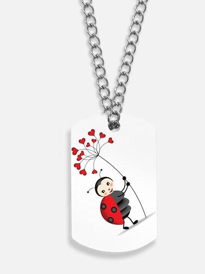 ladybug with heart tree Dog Tags