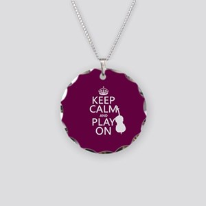 Keep Calm and Play On (double bass) Necklace Circl