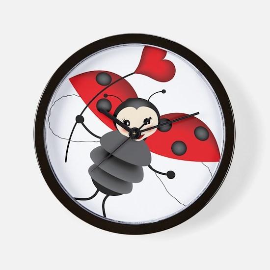 Flying Ladybug with Heart Wall Clock