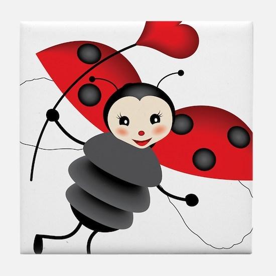Flying Ladybug with Heart Tile Coaster