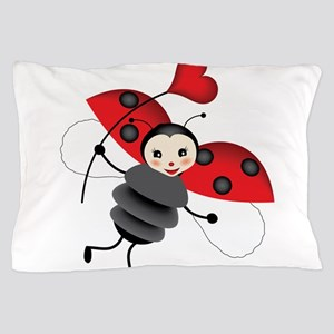 Flying Ladybug with Heart Pillow Case