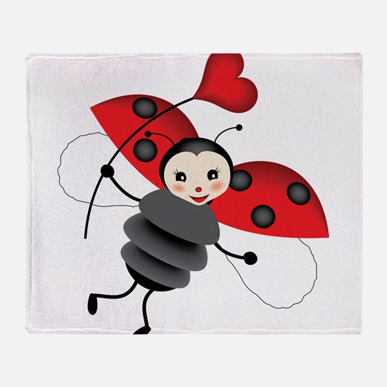 Flying Ladybug with Heart Throw Blanket