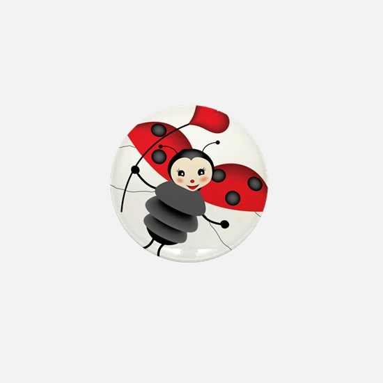 Flying Ladybug with Heart Mini Button