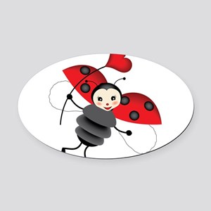 Flying Ladybug with Heart Oval Car Magnet