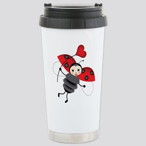 Flying Ladybug with Heart Travel Mug