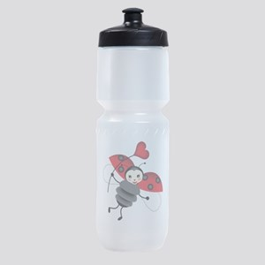 Flying Ladybug with Heart Sports Bottle
