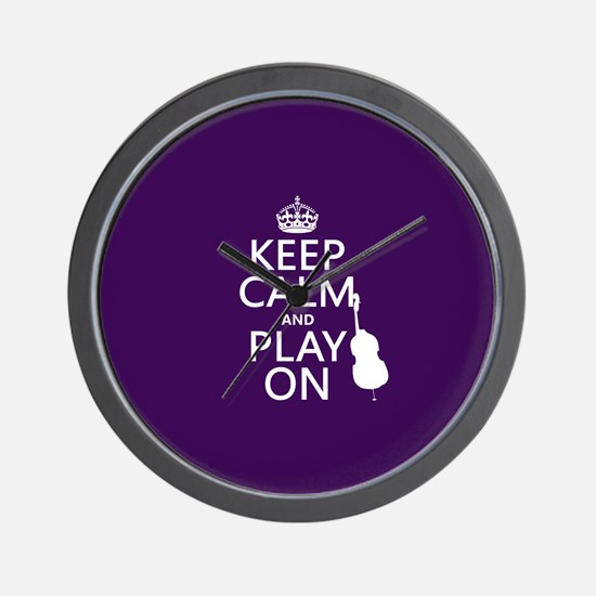 Keep Calm and Play On (cello) Wall Clock