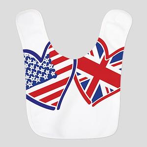 USA and UK Flag Hearts Bib
