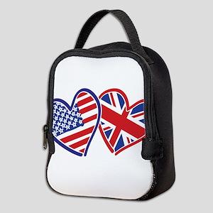 USA and UK Flag Hearts Neoprene Lunch Bag