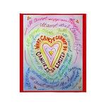 Rainbow Heart Cancer Throw Blanket