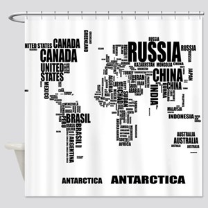 World map shower curtains cafepress typography world map shower curtain gumiabroncs Choice Image
