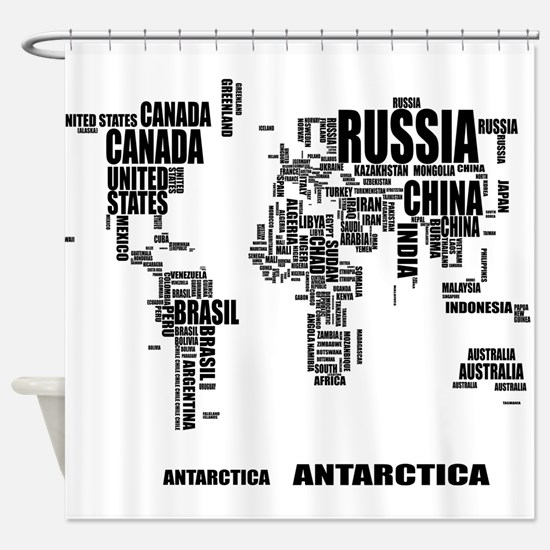 City map shower curtains cafepress typography world map shower curtain gumiabroncs Gallery