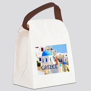Blinding White Buildings in Greece Canvas Lunch Ba