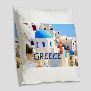 Blinding White Buildings in Greece Burlap Throw Pi