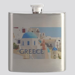 Blinding White Buildings in Greece Flask