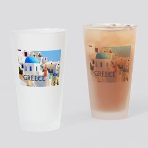 Blinding White Buildings in Greece Drinking Glass