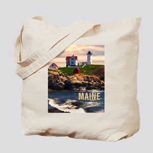 Cape Neddick Lighthouse Maine at Sunset Tote Bag