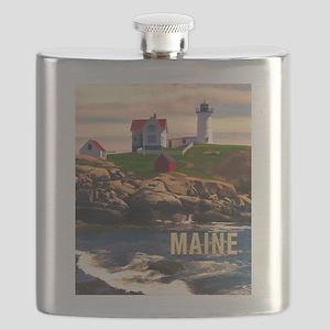 Cape Neddick Lighthouse Maine at Sunset Flask