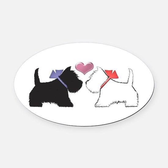 Westie Dog Art Oval Oval Car Magnet