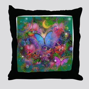 Peacock Butterflies & Blue Morpho Throw Pillow