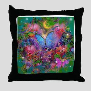 Peacock Butterflies & Blue Morpho Throw Pillow