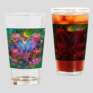 Peacock Butterflies & Blue Morpho Drinking Glass